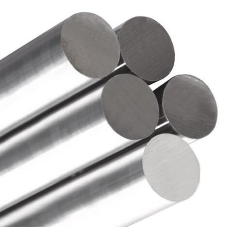 Barras polidas e redondas de aço inoxidável.