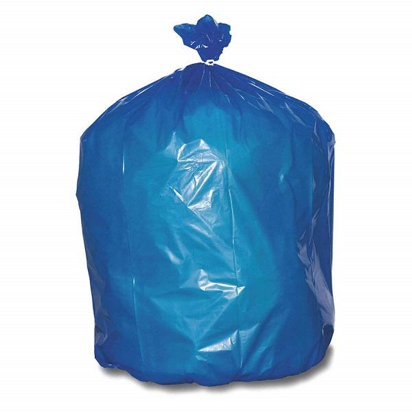 Saco de lixo azul de polietileno de baixa densidade.